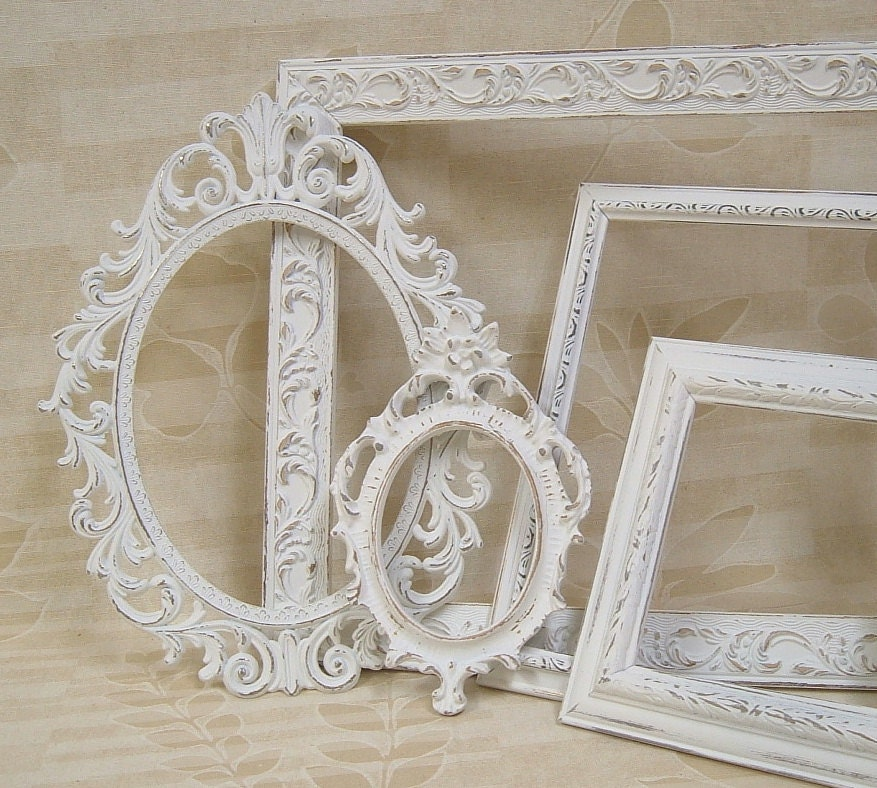 Picture frames shabby chic frames white by for Photo shabby chic