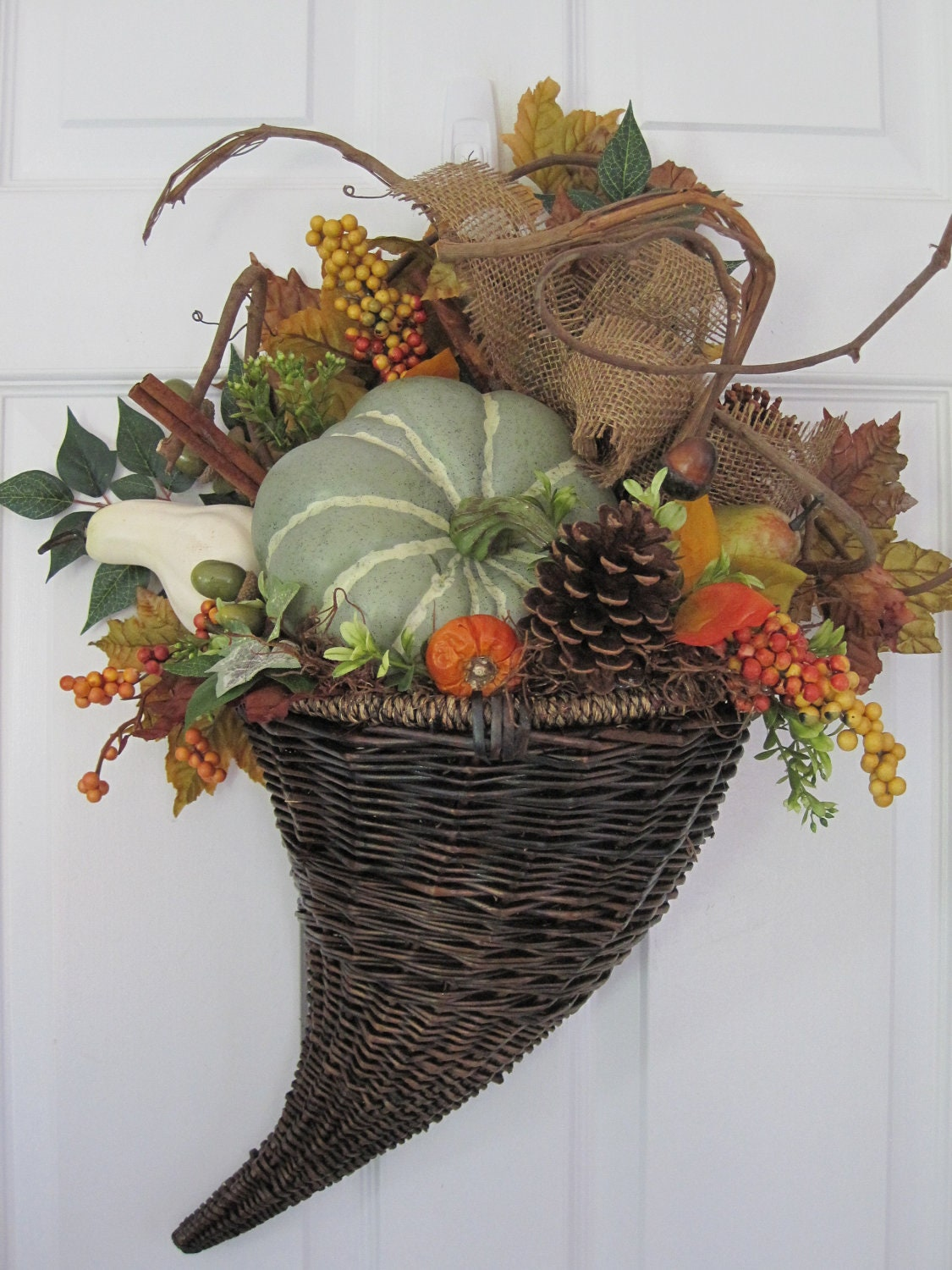 HORN OF PLENTY- Pumpkins- Pinecones- Door Basket- Arrangement Wreath- Free Shipping