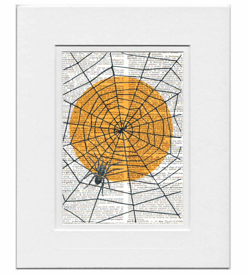 Halloween SPIDER  - ORIGINAL ARTWORK  print over an Upcycled Vintage Dictionary page Book art - Free Domestic Shipping
