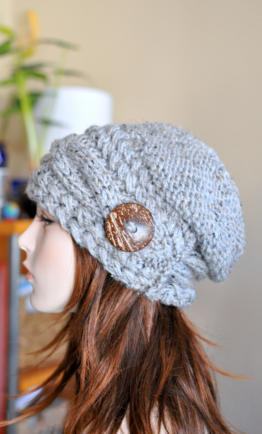 Knitting Pattern Hat With Button : Slouchy Hat Slouch Beanie Cable Button Hat Hand Knit by ...