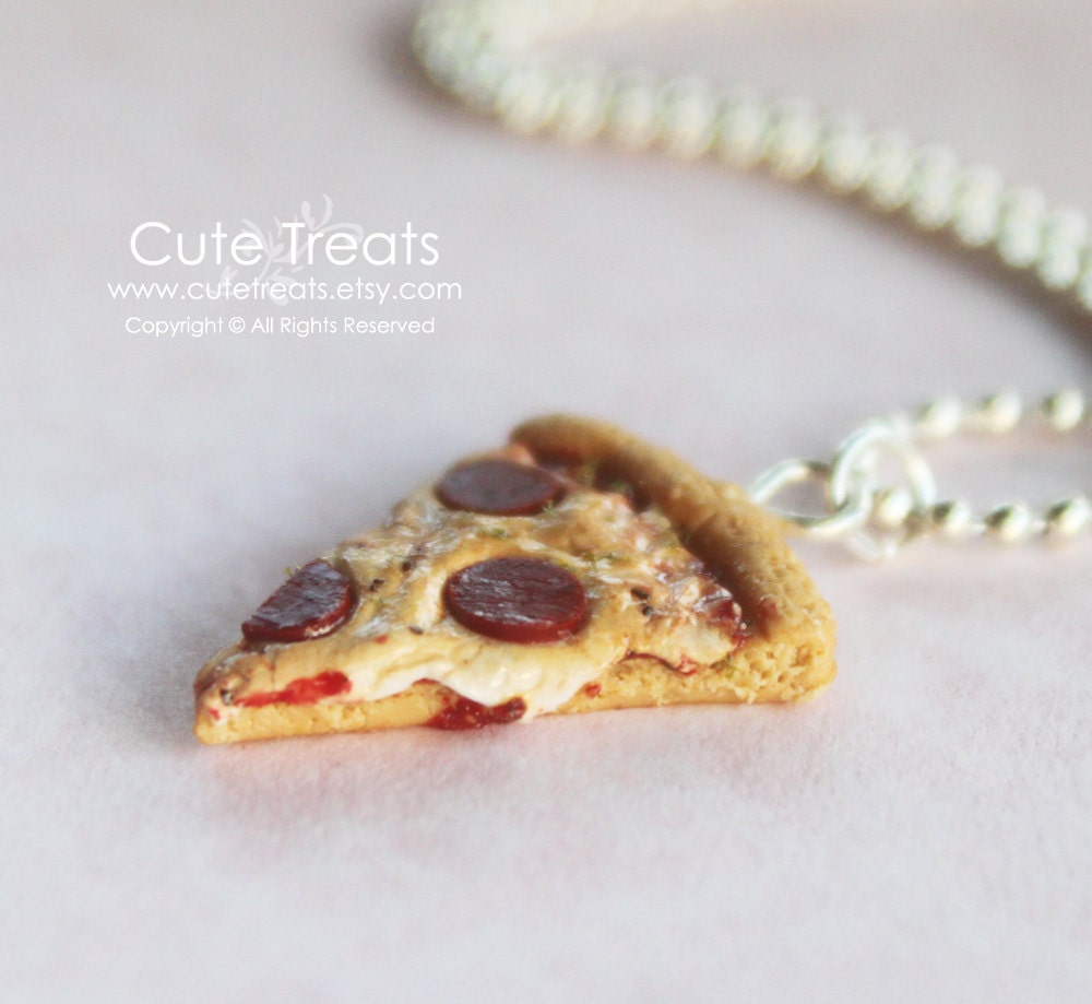miniature food jewelry pizza necklace by cutetreats on etsy