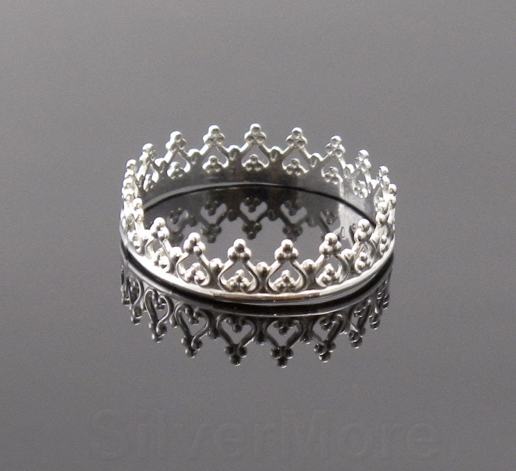 argentium silver crown ring princess tiara by silvermore