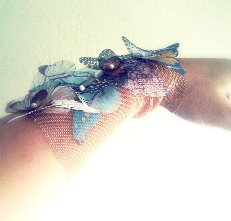 Fluttery бабочки широкий браслет манжеты или ножной браслет-Natural Colors-Сделано на заказ