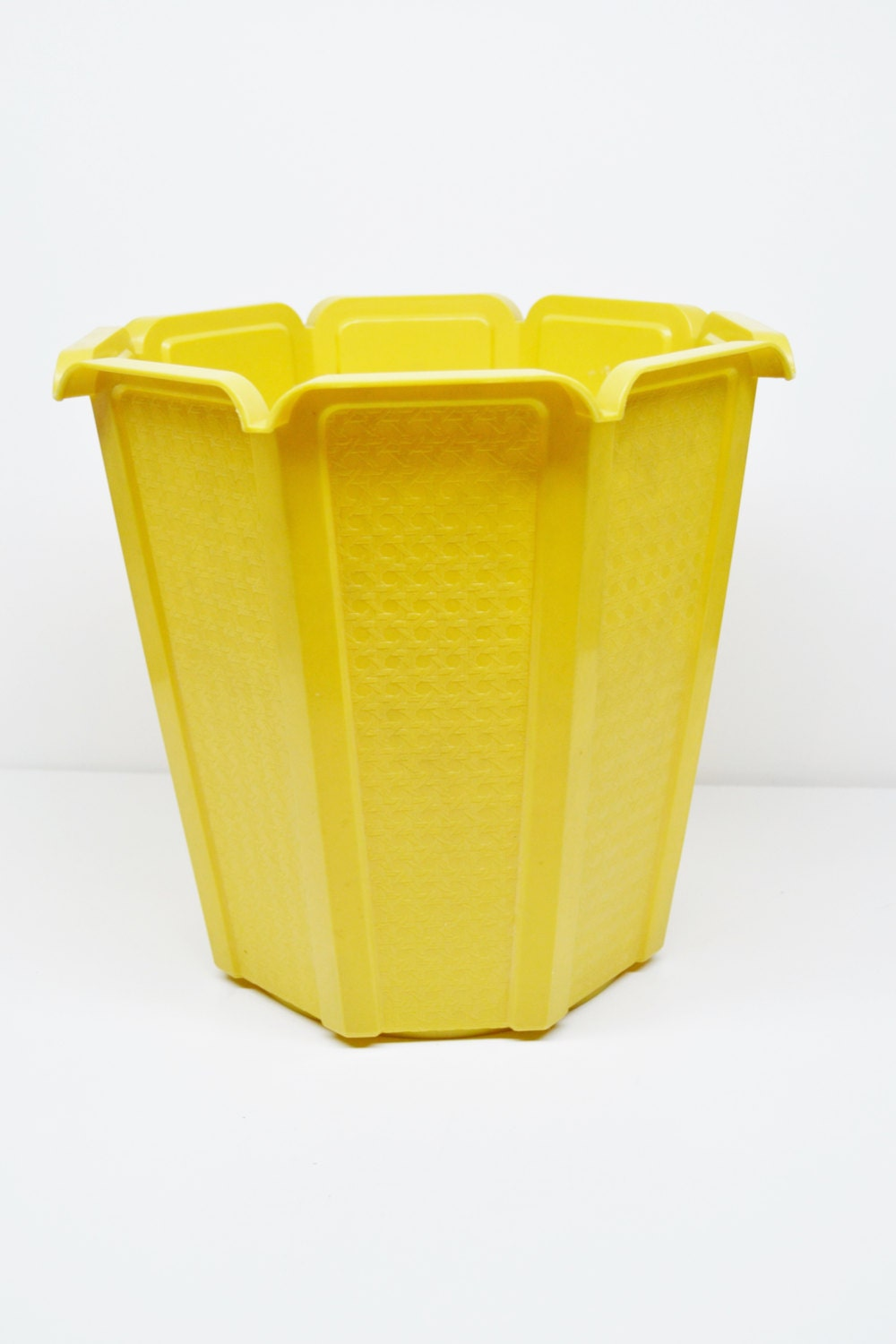 vintage yellow gold rubbermaid trash can by buckscountyvintageco
