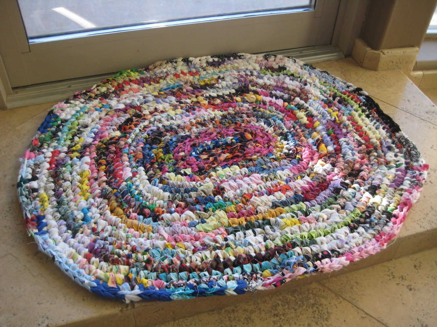 Free Crochet Pattern For Oval Rag Rug : Oval Crochet Rag Rug Multi Color Handmade Cotton by RobinLewis