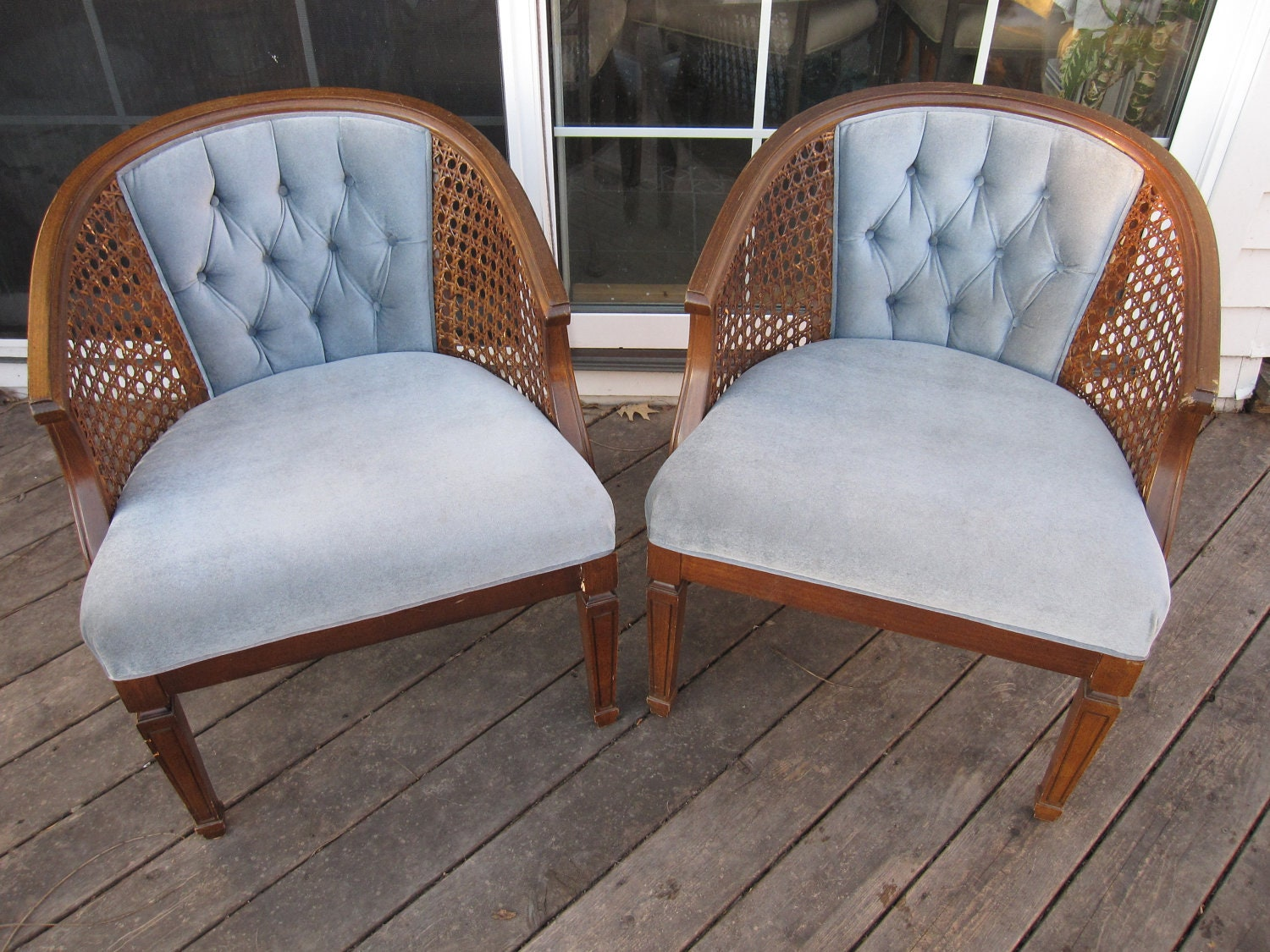 Pair Of Vintage Cane Arm Tufted Back Barrel By