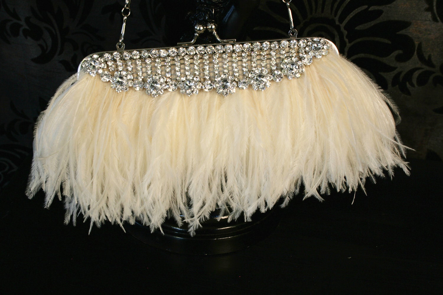ULTIMATE OSTRICH Feather and Rhinestone Purse and Bouquet Wrap reserved for Melisa
