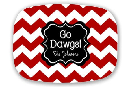 Personalized Chevron Zig Zag Tailgating Tray Choose Your Team and Colors