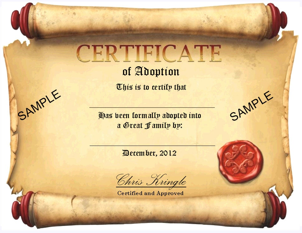 Fill in the Blank Elf Adoption Certificate, Add Name of Elf and Kids ...