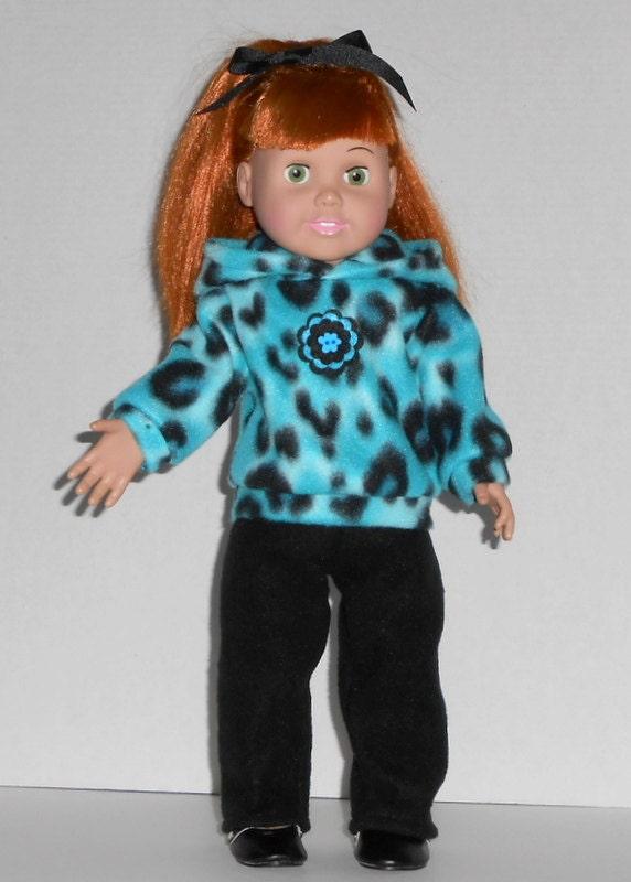 American Girl Doll Sweatsuit Hoodie Turquoise Leopard Fleece