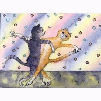 Cat kitten ballroom dancing 8x10 print - susanalisonart