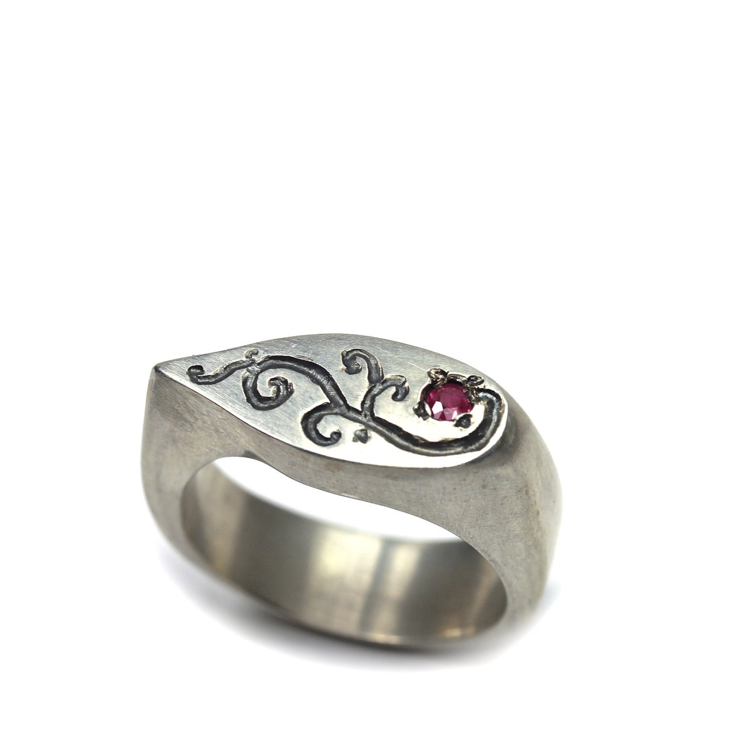 Women S Sterling Silver Ruby Signet Ring Ruby By