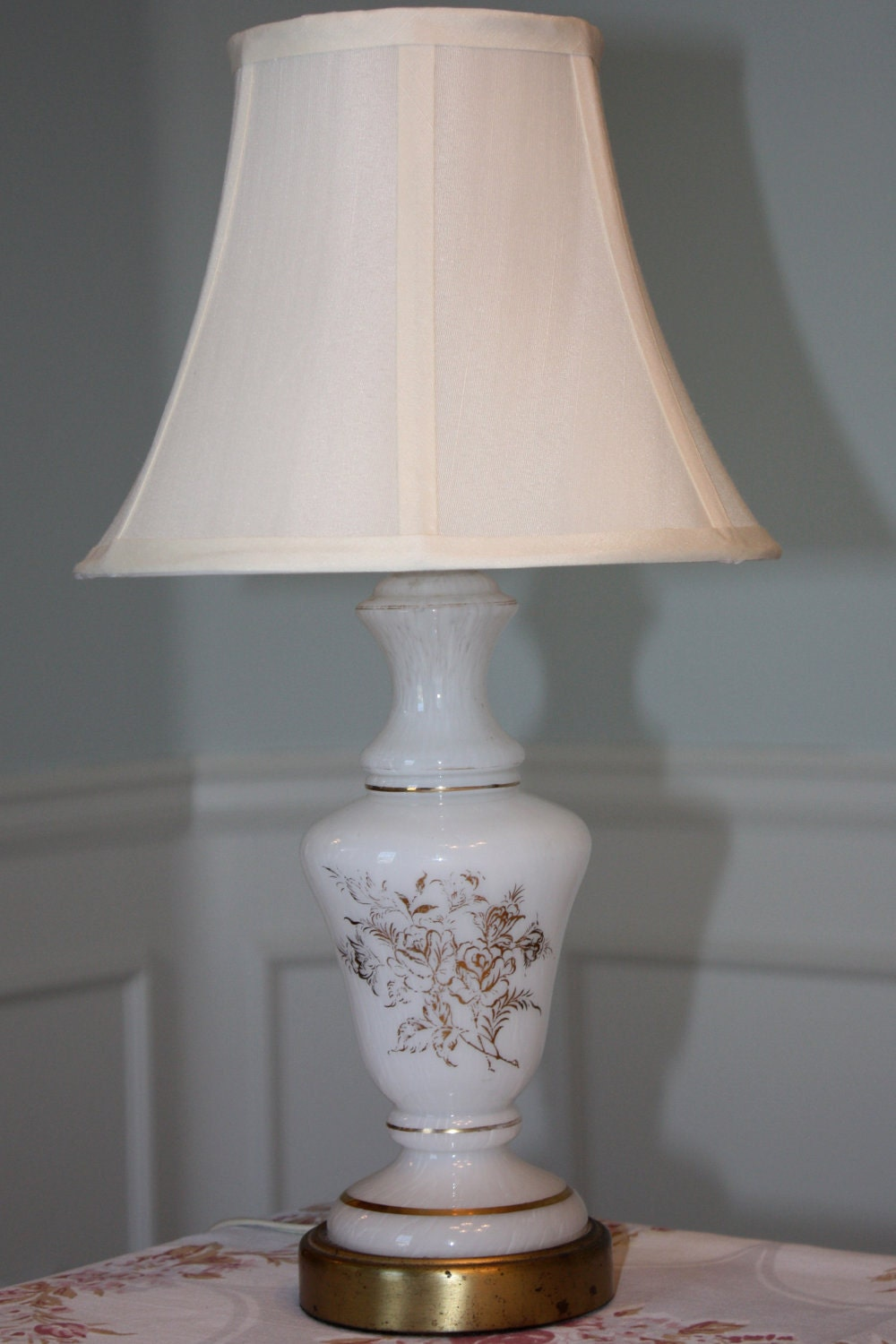 Items Similar To Vintage Glass French Table Lamp White