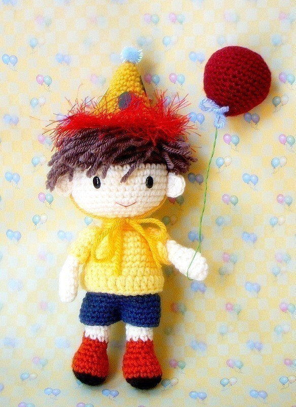 Amigurumi Birthday Boy N his balloons Crochet by TGLDdoll