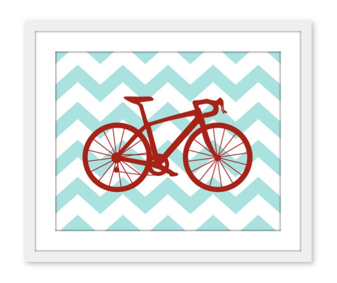 Bike Chevron Nursery Wall Art Print Modern Home Decor  Bicycle Teal and Red - AldariArt