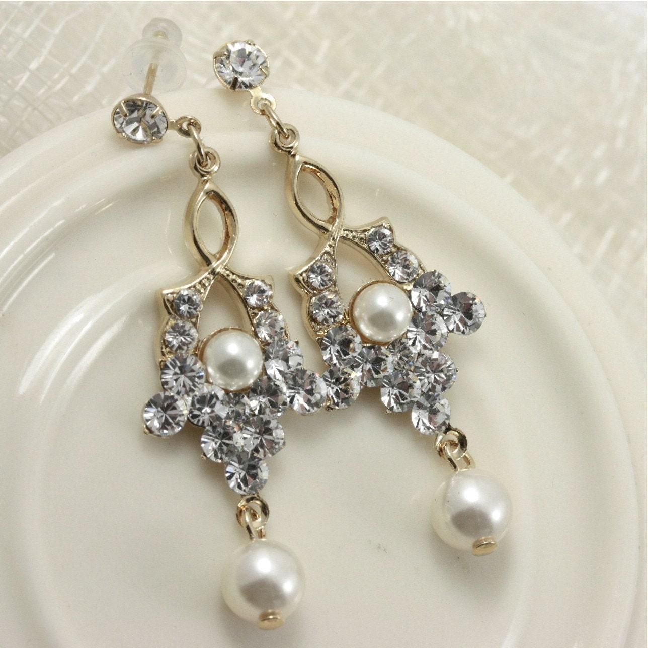 Gold Wedding Earrings , Swarovski Ivory Pearl Dangle Earrings , Gold Wedding Jewelry, Small Rhinestone Earrings,  SEPTEMBER