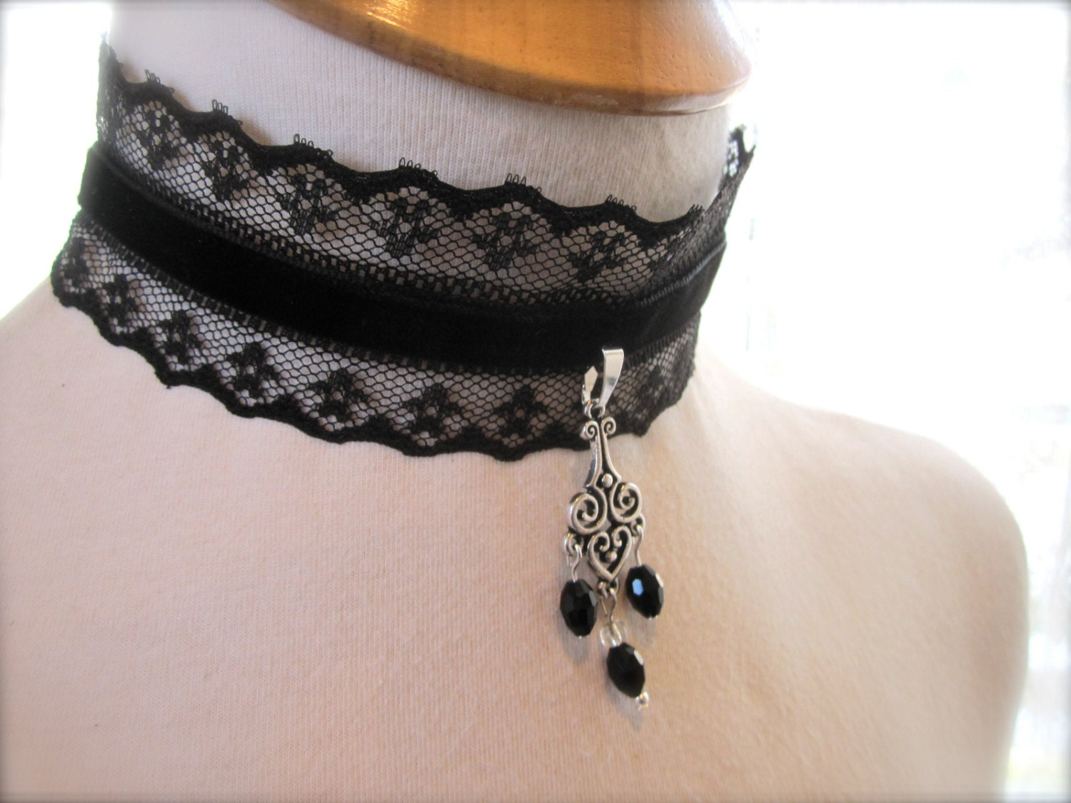 Black Lace choker, Dark, Edgy Victorian collar, Choker neck accent, Fabric Necklace. Bohemian goth steampunk Edwardian jewelry. - JoolaDesigns