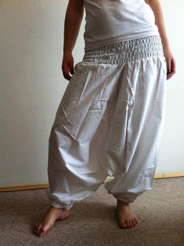 White Harem Pants Women