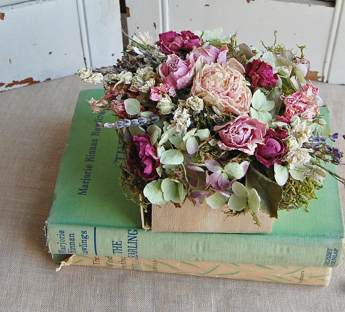Spring Dried Flower Arrangement Cottage Chic by roseflower48