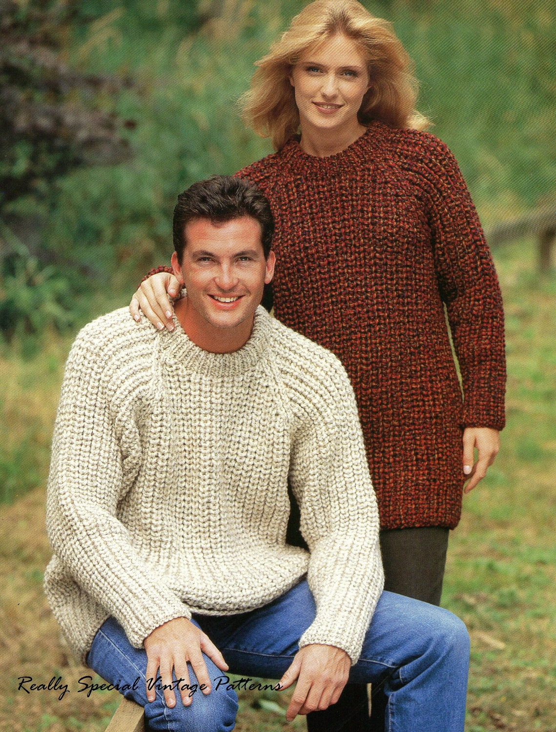 Knitting Patterns Fisherman s Rib Sweater : Items similar to Classic Sweater Fishermans Rib Vintage ...