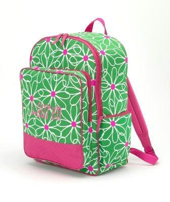 Child's Pink and Green Backpack  Free Monogramming - TheStitchShopOnEtsy