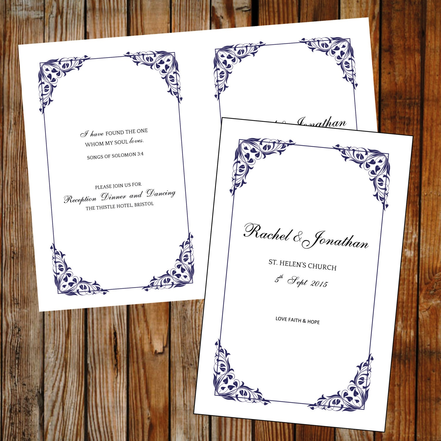 DIY program template (Flora) blue DOWNLOAD PRINTABLE Microsoft word template  foldable cover  order of service  A4 or letter program
