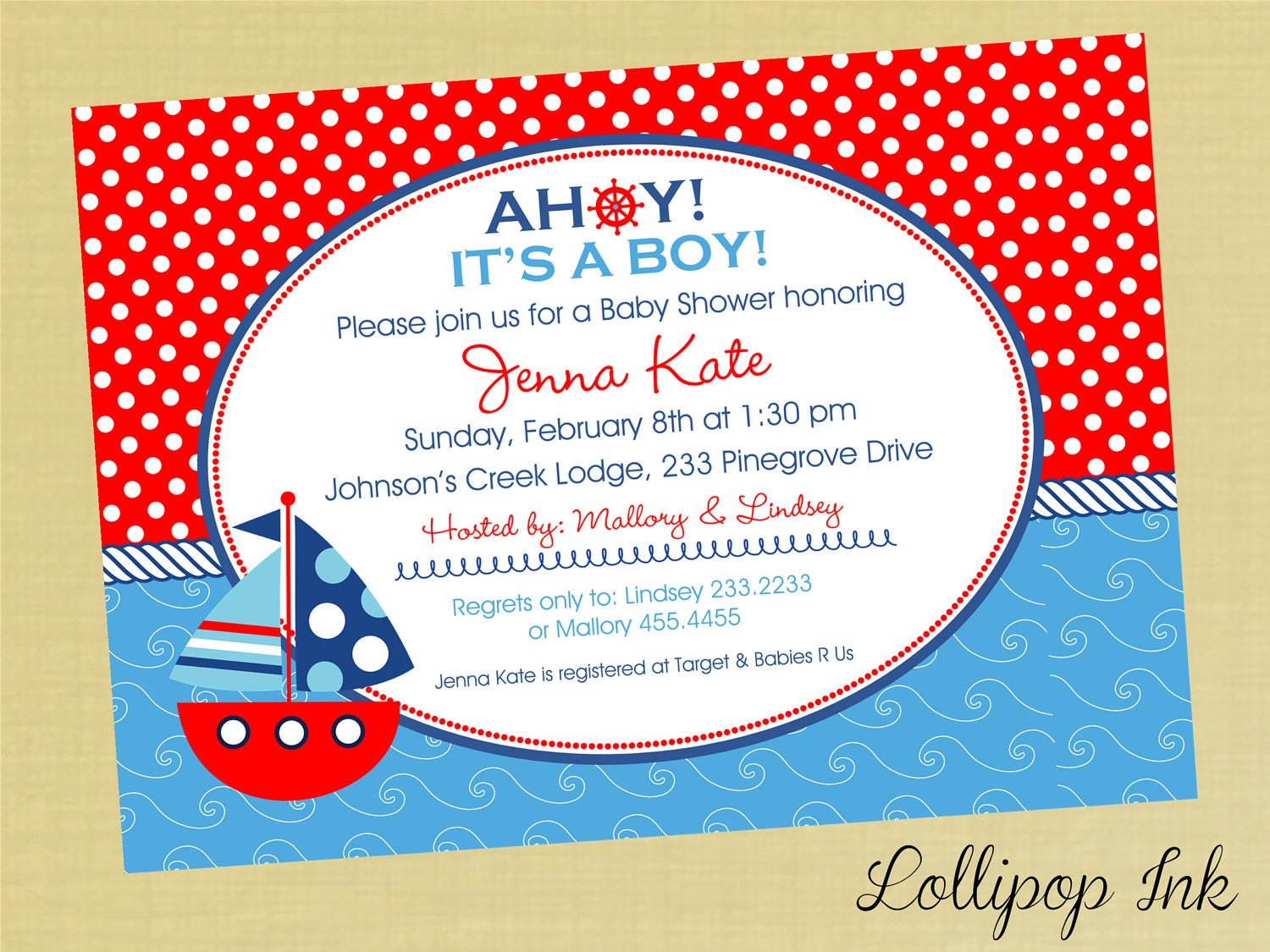 nautical baby shower printable invitation sailboat by lollipopink