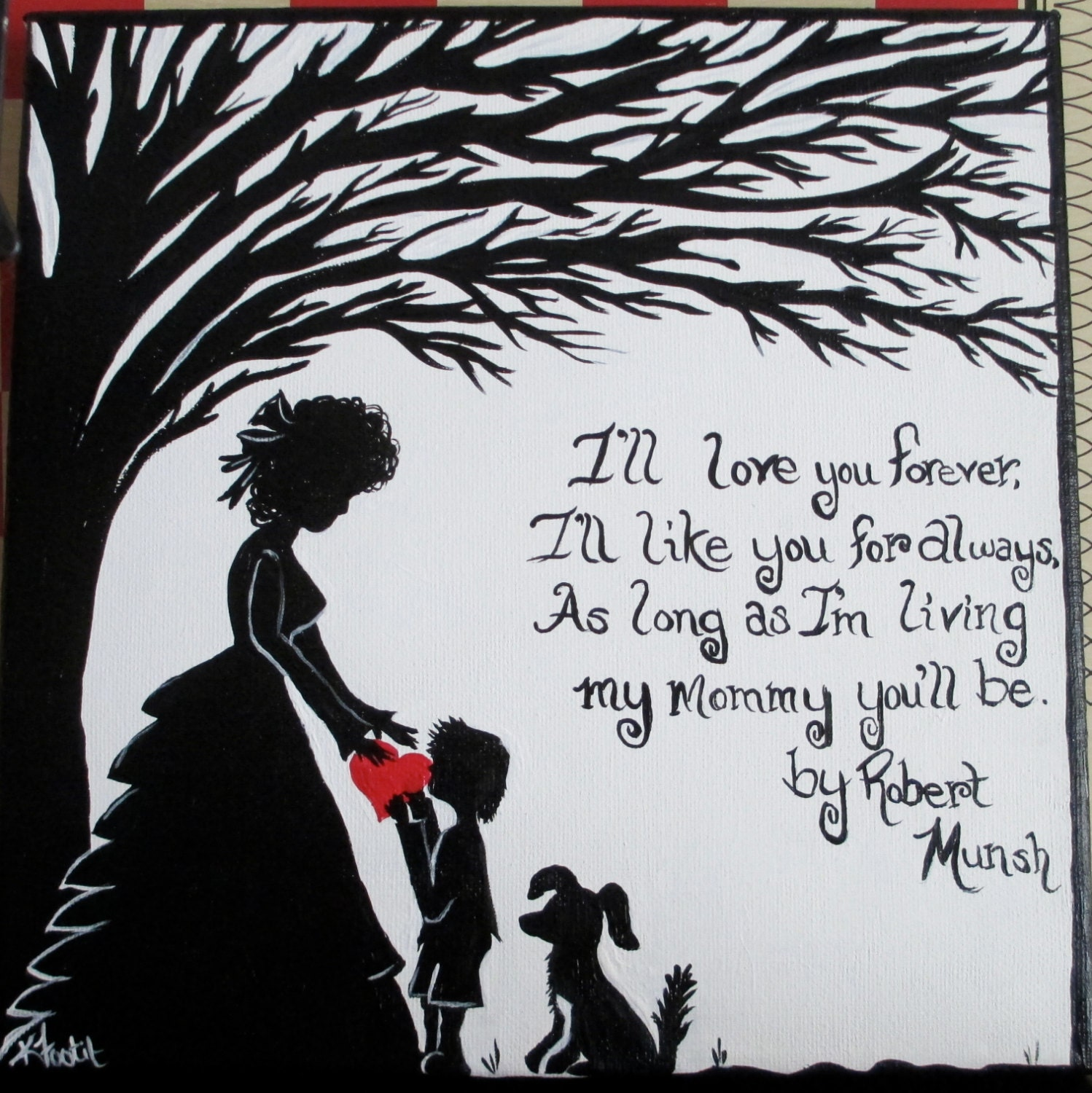 Quotes About Mothers Love For Her Son : Mother and Son Hand Painted Canvas with Quote