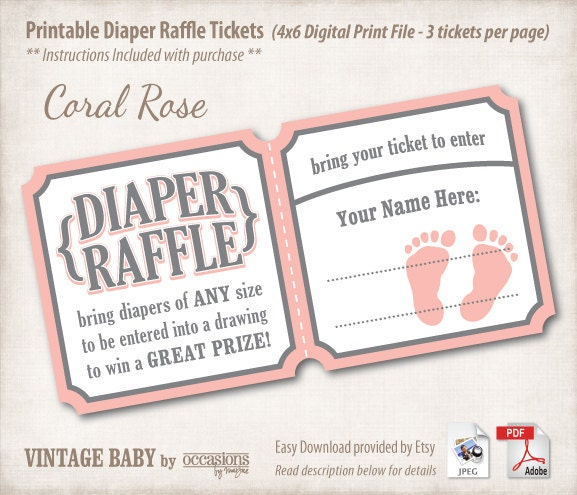 Baby Shower Diaper Raffle Tickets, 4x6 Digital File, Vintage Baby ...