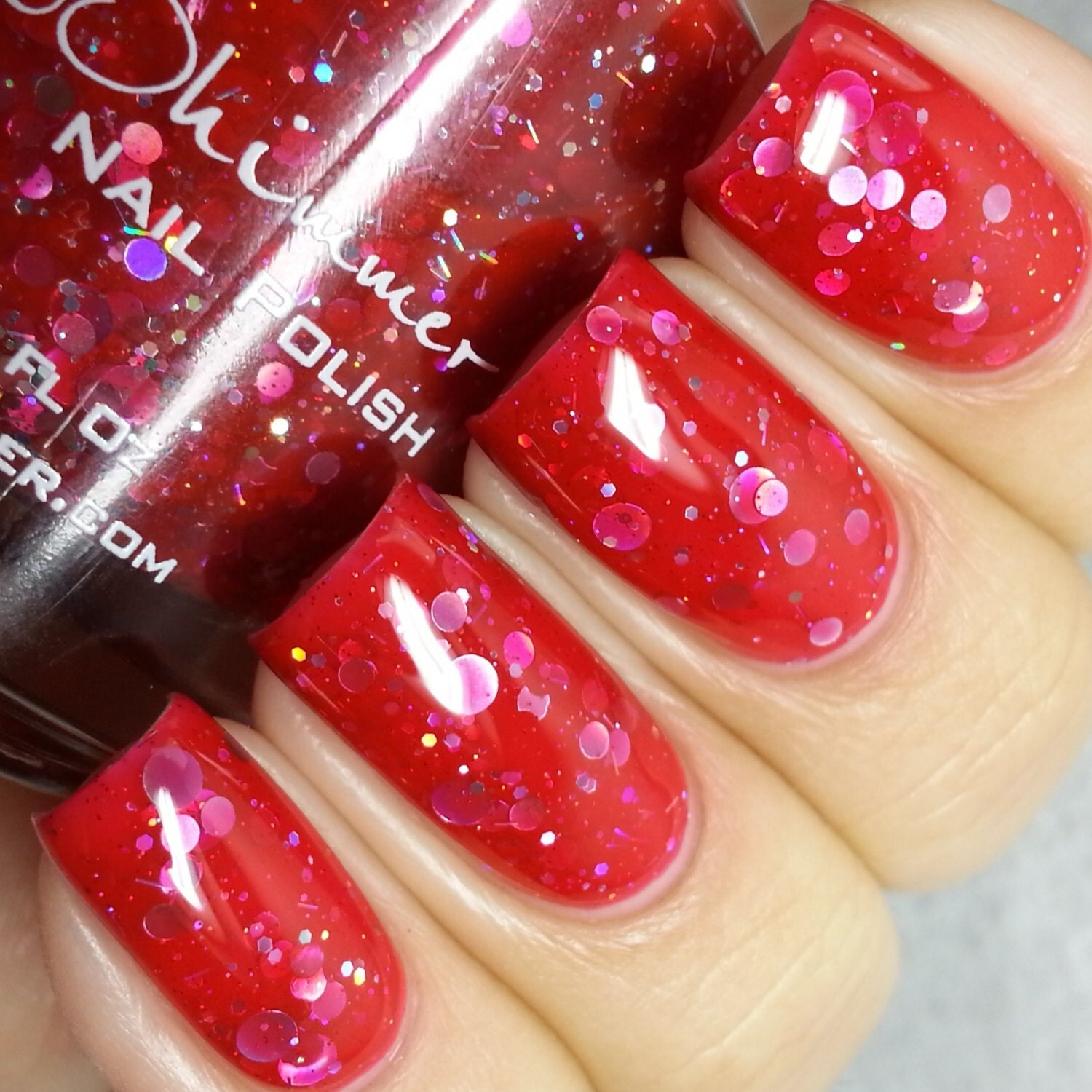 Vicious Circles Cherry Red Holographic Circle Nail By
