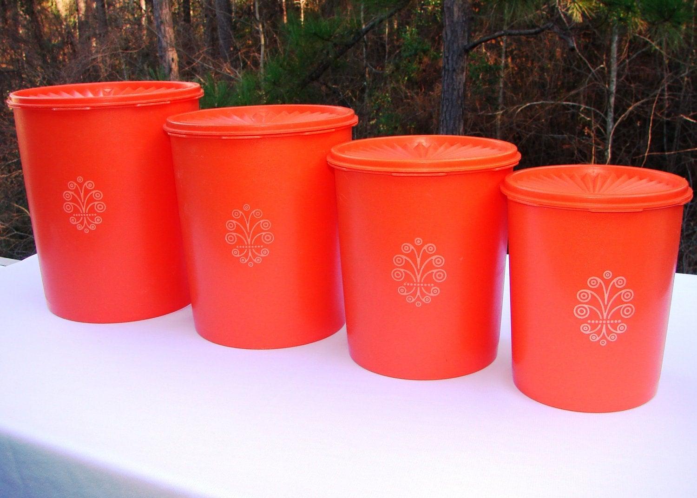 Vintage orange tupperware canister set of 4 by handaddysattic for Kitchen set orange