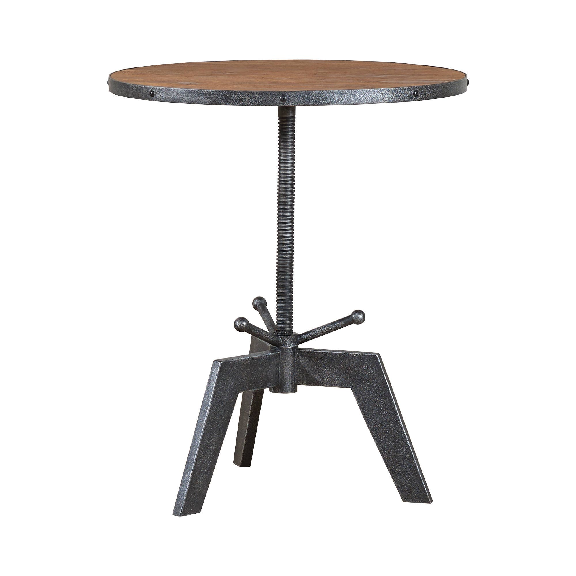 Bruno Industrial Bistro Round Table Made From Solid Oak  FREE Delivery