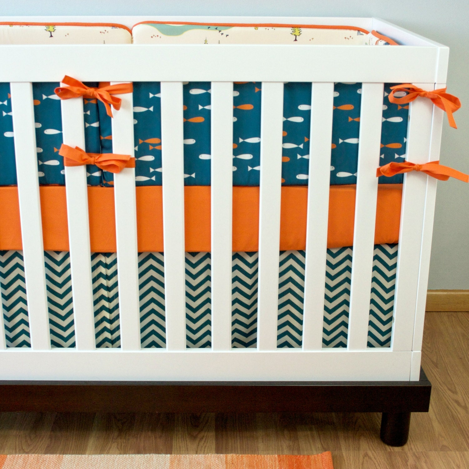 Baby bedding crib set outdoor fishing camping by modifiedtot for Fishing crib bedding