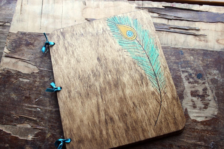 Custom Wedding Guest Book - Peacock Feather - LazyLightningArt