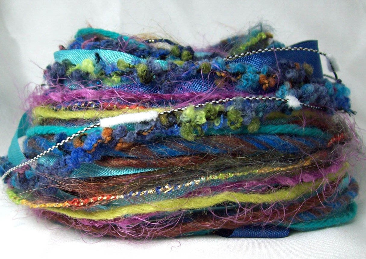 Inspiration kit Embellishment nest- 30 yards of rayon ribbon and fancy fibers, art yarns in Water Goddess
