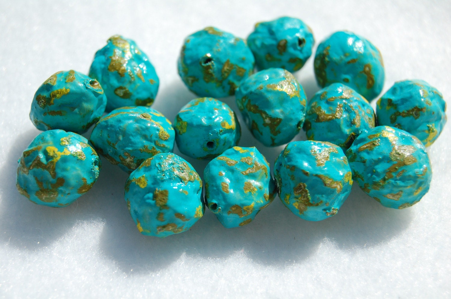 Turqoise rocks paper mache beads by mysweetthree on etsy for Papier mache rocks
