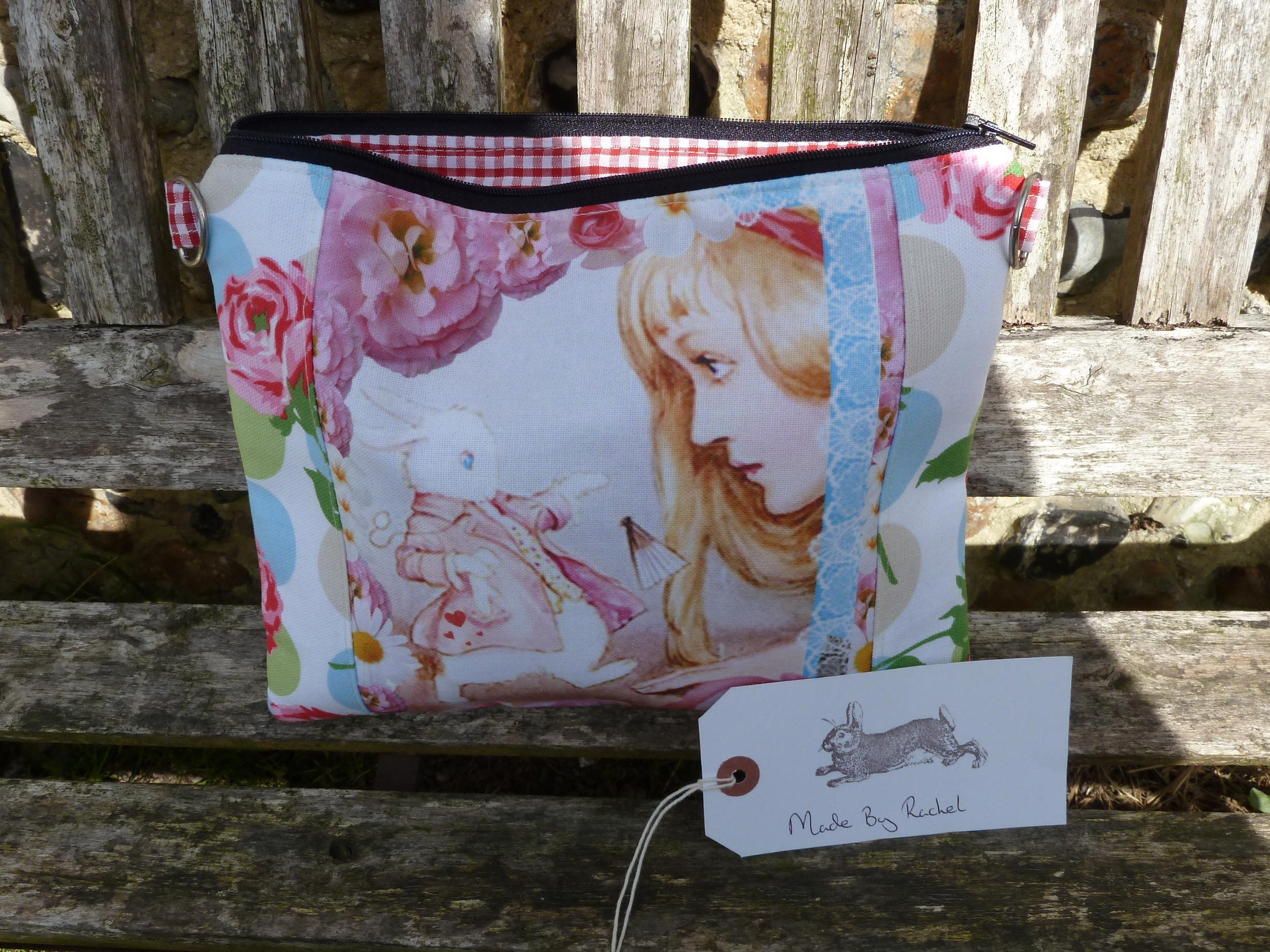 Handmade Makeup Bag Alice In Wonderland White Rabbit Fabric Cath Kidston Roses Fabric Pencil Case Purse Padded Clutch Lined