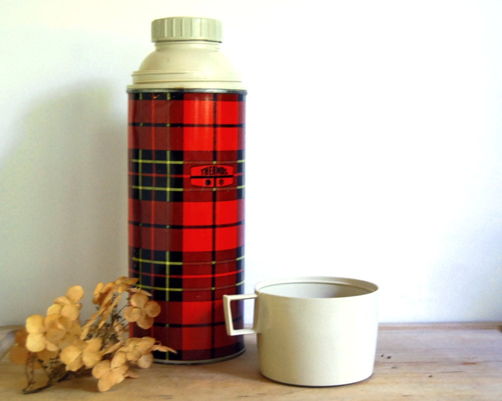 Vintage thermos container 1970s king seeley red plaid collectible