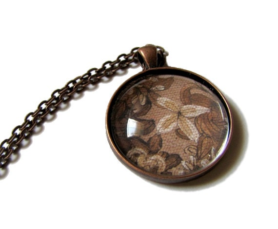 Shabby Chic - Brown - Necklace - Romantic - Sepia Flowers - Copper Pendant - Vintage - Feel  -  Brown - - MyDifferentStrokes