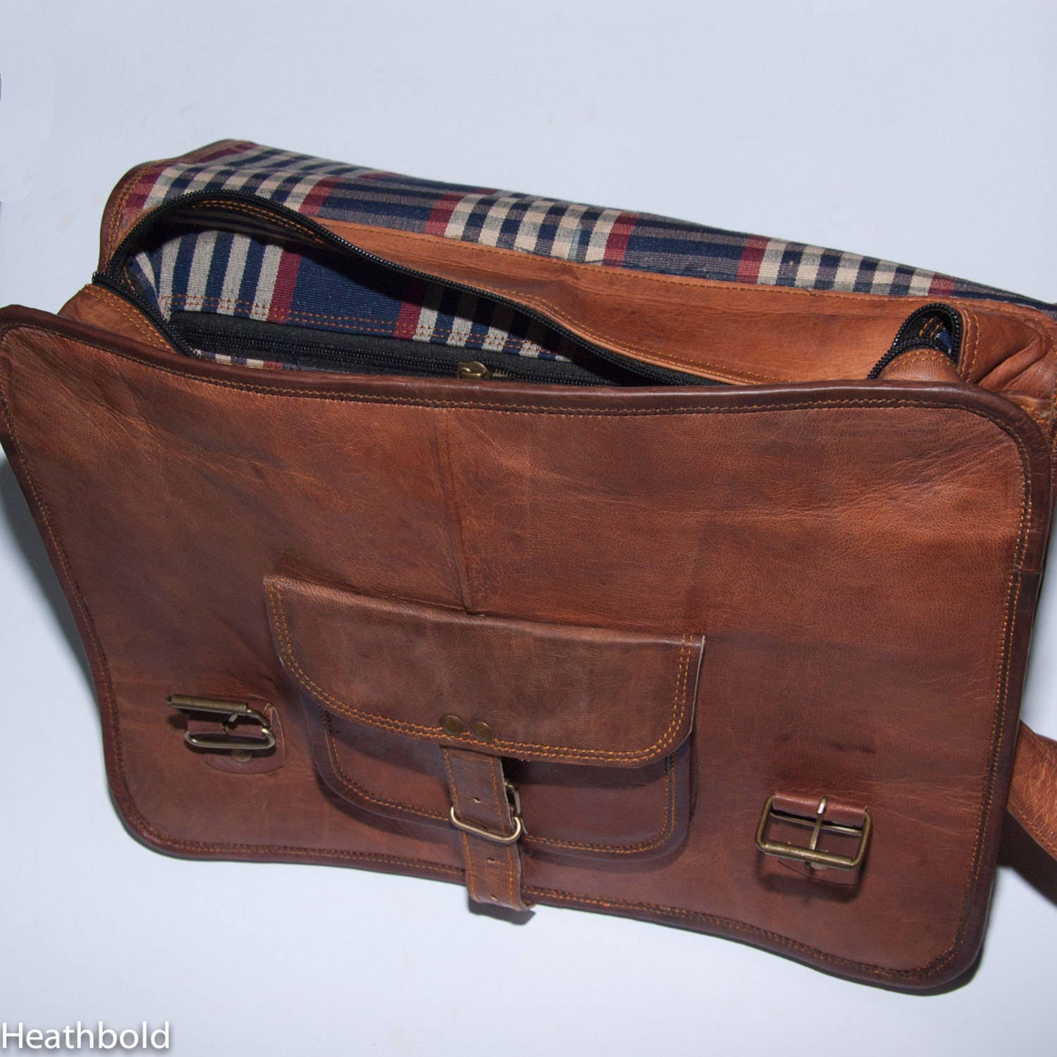 Heathbold Lancastrian. With top handle. Monogram or personal message options. Brown leather messenger laptop satchel bag. XL 15 laptop