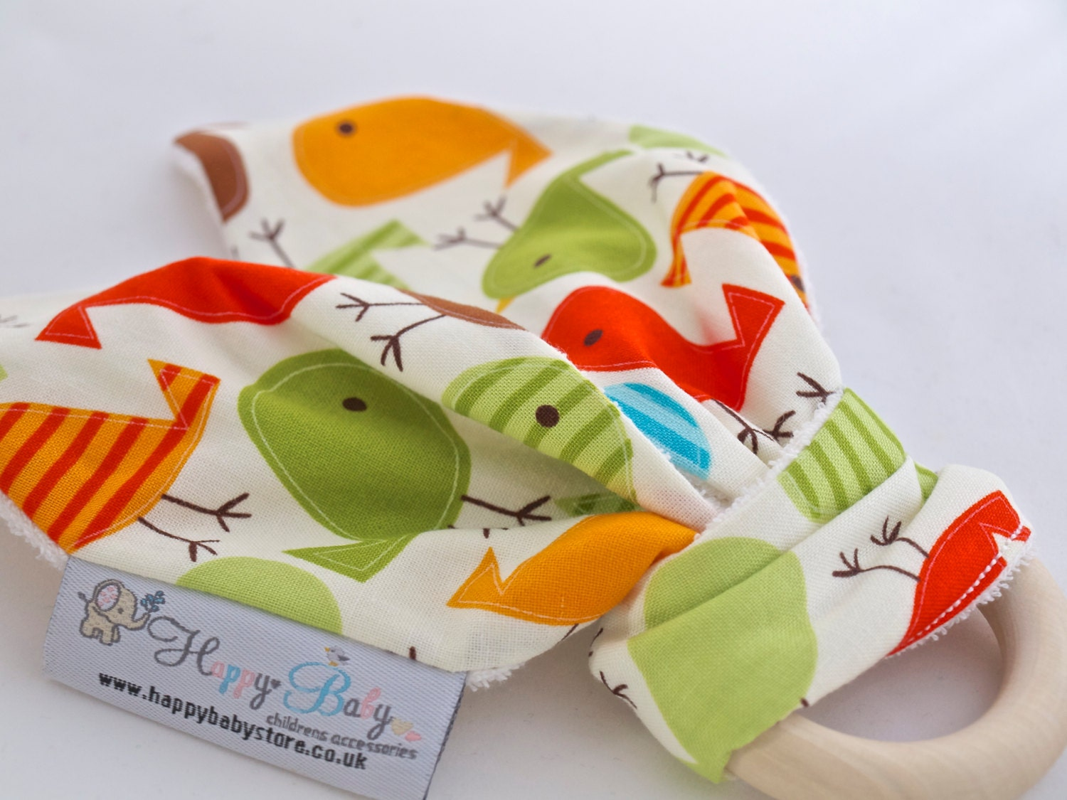 Natural Bunny Ear Teething Ring for Baby  Teething wooden ring   Sensory toy  Birds  FAST SHIPPING