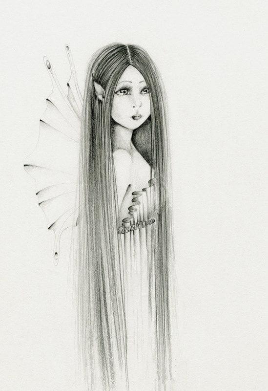 Fairy Art Pencil Drawing Giclee Print of my Original Fairy Hand Drawn ...