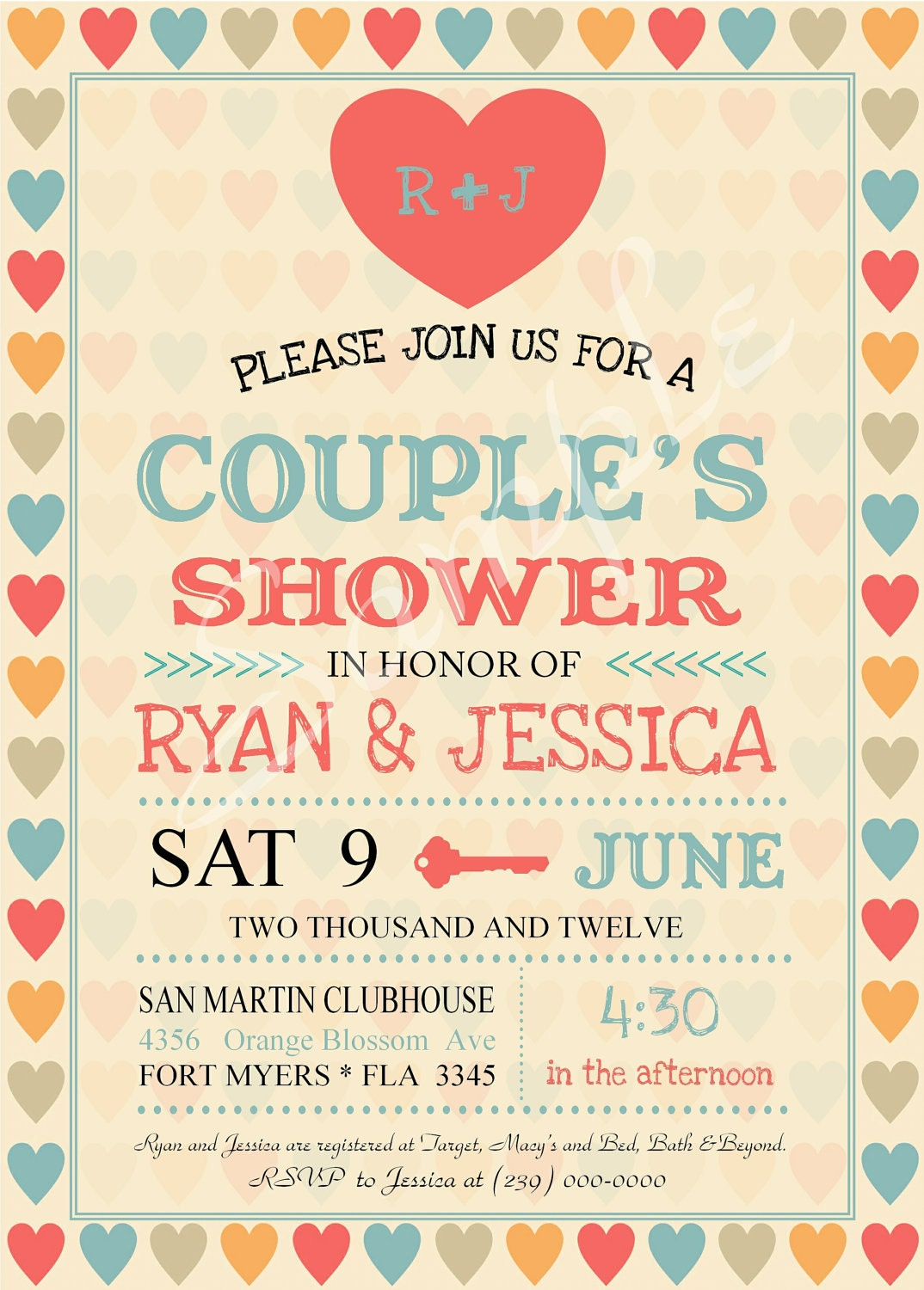 Vintage Wedding Shower, Couples Shower Invitation Jack and Jill