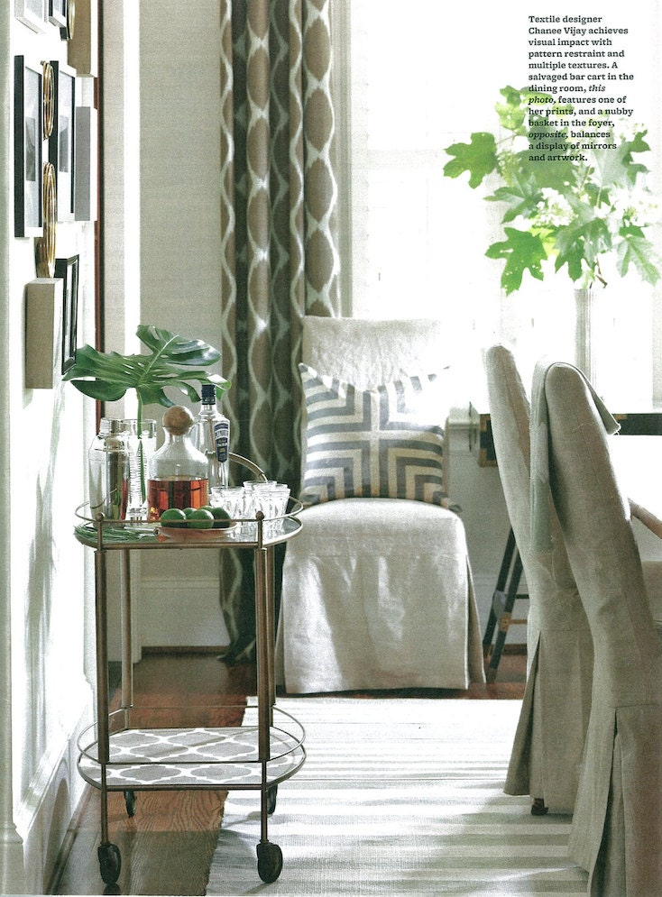 As seen in BHG! Doha pillow cover hand printed in metallic pewter on natural ecru organic hemp 20x20 - ChaneeVijayTextiles