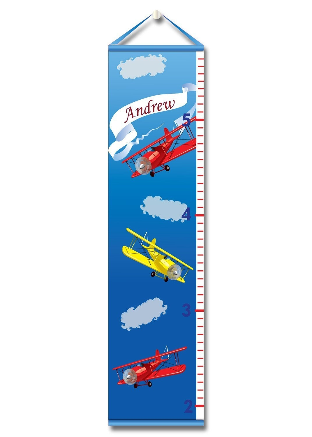 Personalized Growth Chart-Vintage Airplane Growth Chart