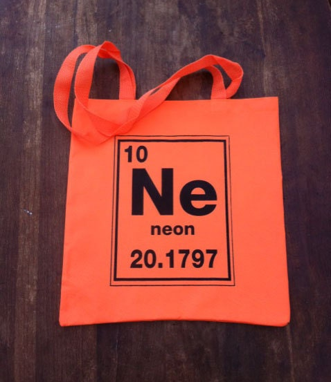 Neon Orange Periodic Table of Elements Chemistry by dozydoatstotesNeon Element Symbol