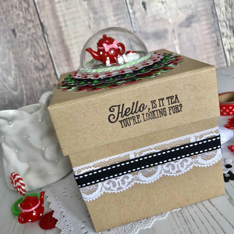 Unique Gift Box tea lover gift box quirky gift idea handmade gift box elegant gift box keepsake favour box tea lover gift cube box