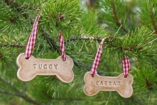 Christmas Tree Decorations For Dogs : Personalized dog bone ornament made to order by
