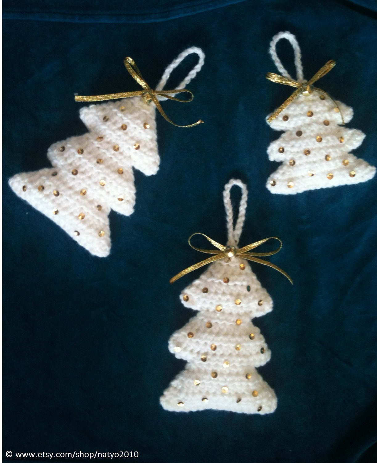 Easy crochet christmas tree hanging ornament look snowing 2 sizes pdf