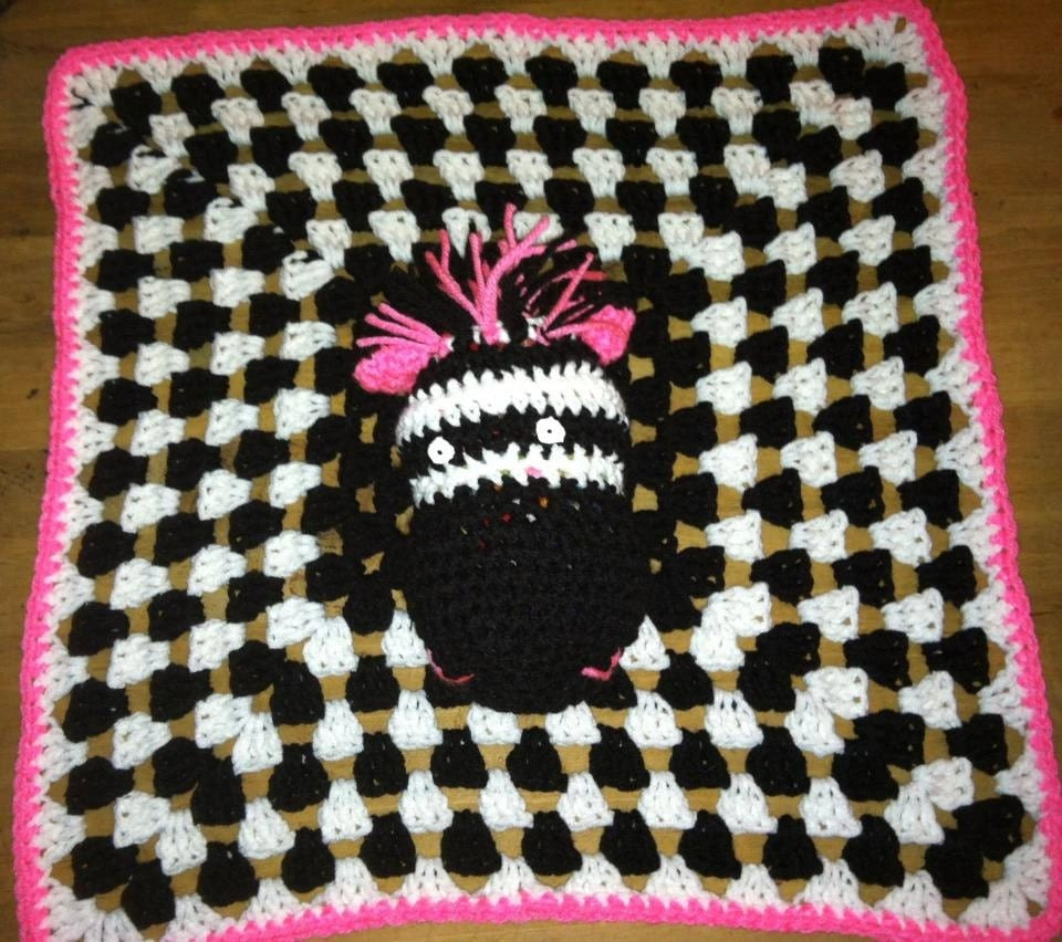 Items similar to Zebra crochet security blanket Lovey. Pink trim on ...
